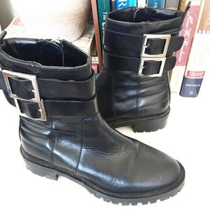 Zara Black Leather Moto Ankle Boots Booties